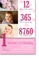 CU1096 - Pink Glitter 1st Birthday Invitation