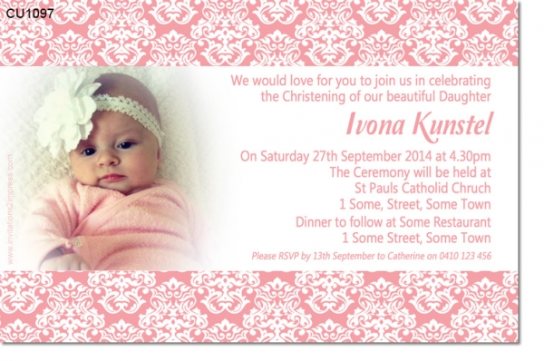 CU1097 - Damask Christening Invitation