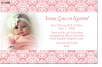 CU1098 - Damask Girls Baby Announcement Thank You