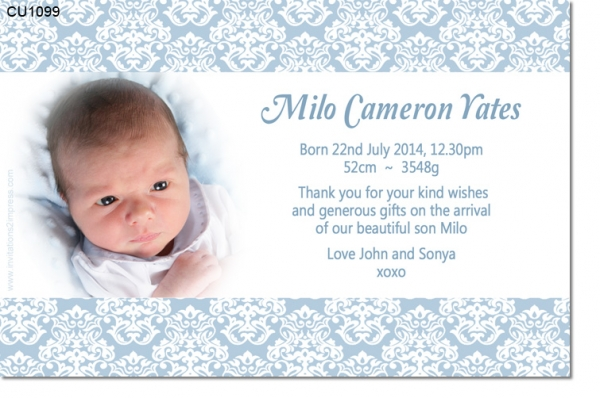 CU1099 - Damask Boys Baby Announcement Thank You