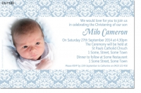 CU1100 - Damask Boys Christening Invitation