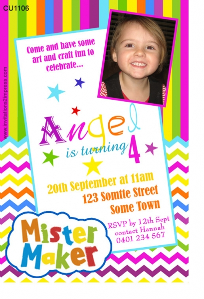 CU1106 Mr Maker Girls Birthday Invitation Girls Themed – Birthday Invitations Maker
