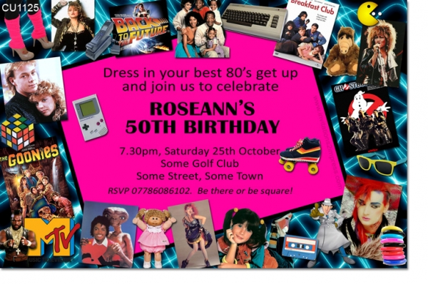 CU1125 - 1980s Themed Birthday Invitation