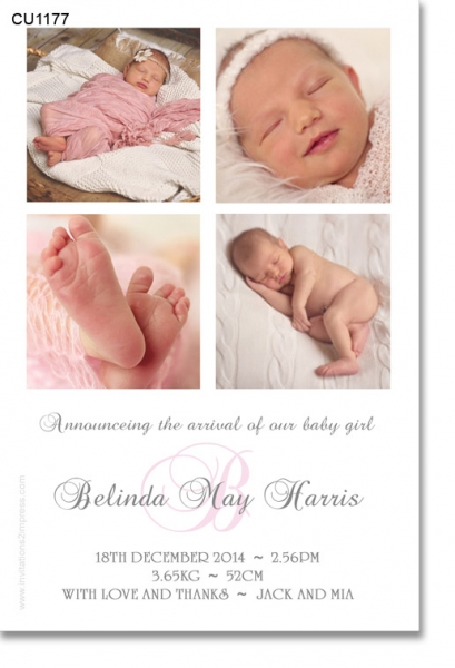 CU1177 - Girls Collage Baby Announcement Photo Template