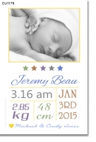 CU1179 - Boys Baby Announcement Photo Template