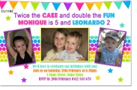 CU1180 - Twin or Joint Birthday Invitation