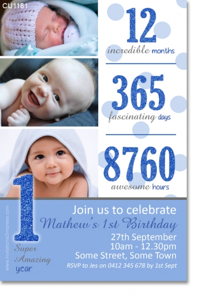 CU1181 - One Year Birthday Invitation with blue glitter