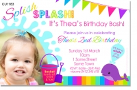 CU1183 - Splish Splash Water Birthday Party Invitation