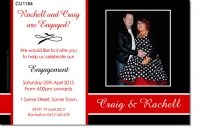 CU1184 - Black Red and White Engangment invitation