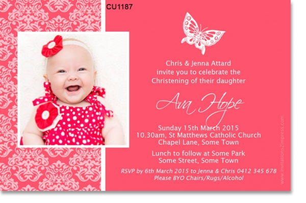 CU1187 -  Girls Christening Damask Lace Red