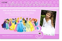 Cu1188 Girls Disney Princess Birthday Party Invitation Girls
