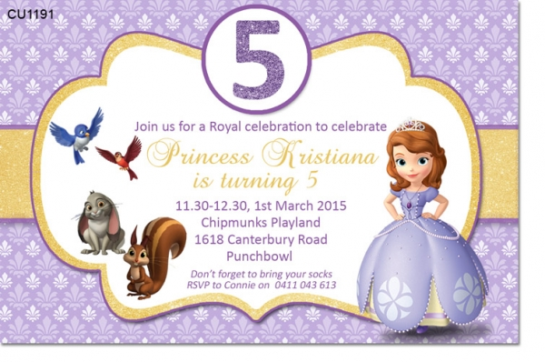 CU Sofia The First Birthday Party Invitation Girls Themed - Sofia the first party invitation template
