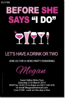 CU1195 - Pink Cocktail Hens party Invitation