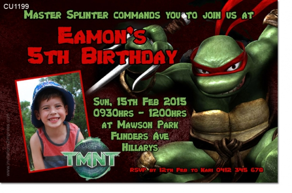 CU1199 - TMNT Raphael Birthday Party Invitation