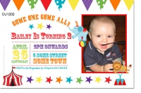 CU1202 - White Circus themed birthday Invitation