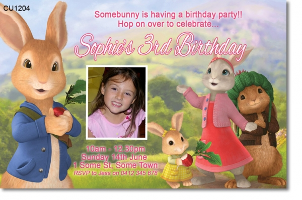 Cu1204 Girls Peter Rabbit Birthday Invitation Girls Themed