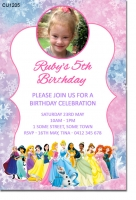 CU1205 - Girls Frozen and princess themed birthday invitation