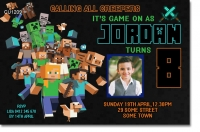 CU1209 - Boys Minesweeper Birthday Invitatiion