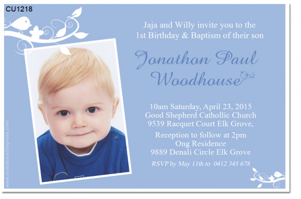 Sample Of Invitation Card For Christening And 1st Birthday. CU1218  Boys 1st Birthday and Christening Invitation