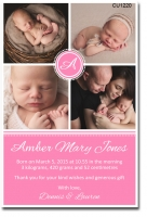 CU1220 - Baby Girl Birth Announcement Template