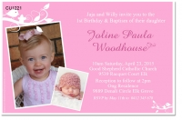 CU1221 - Girls 1st Birthday and Christening Invitation
