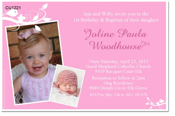 CU1221 Girls 1st Birthday and Christening Invitation Girls – 1st Birthday and Baptism Invitations
