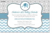 CU1226 - Blue Elephant Chevron Baby Shower Invitation