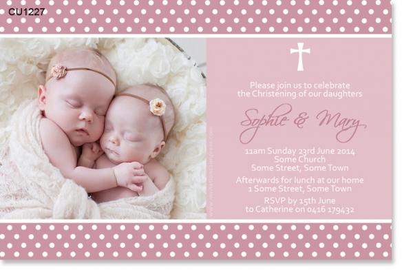 Cu1227 Twin Girls Christening Invitation With Cross Twins