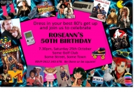 CU1230 - New 1980s Themed Birthday Invitation