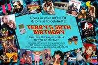 CU1231 - Mens 1980s Themed Birthday Invitation