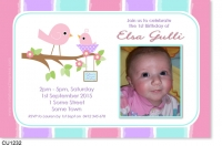 CU1232 - Little Bird Baby Girl Birthday Invitation