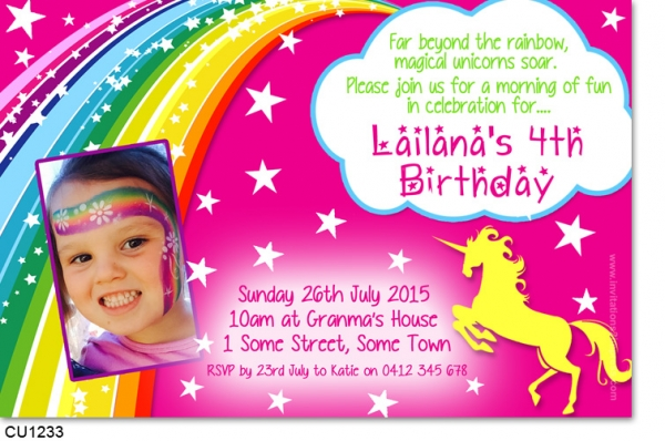 Cu1233 Rainbow Unicorn Birthday Invitation Girls