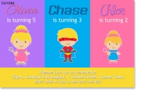 CU1234 - Joint princess and superhero birthday party invitation