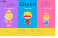 CU1239 - Custom Superhero and Princess Joint Birthday