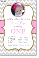 CU1240 - Pink and Gold Glitter Birthday Invitation
