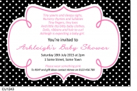 CU1243 - Hot Pink and Black Polkadot Baby Shower Invitation
