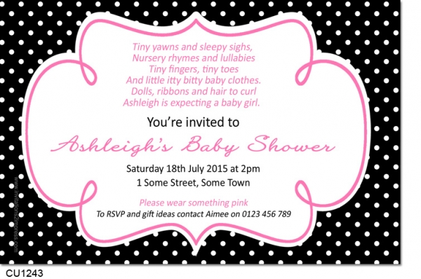 Cu1243 hot pink and black polkadot baby shower invitation baby cu1243 hot pink and black polkadot baby shower invitation filmwisefo