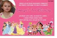 CU1244 - Disney Princess & Jake Pirates Birthday Invitation