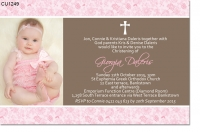CU1249 - Girls Floral Christening Invitation