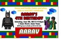 CU1251 - Boys Batman Lego Batman Party Invitation