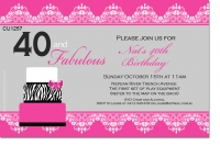 CU1257 - Fabulous 40th Birthday Invitation