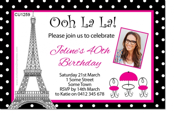 CU1259 - French Themed Ladys Birthday Invitation