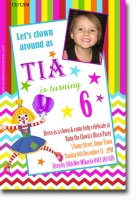 CU1264 - Clown Themed Birthday Invitation