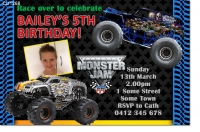 CU1268 - Monster Jam Birthday Invitation