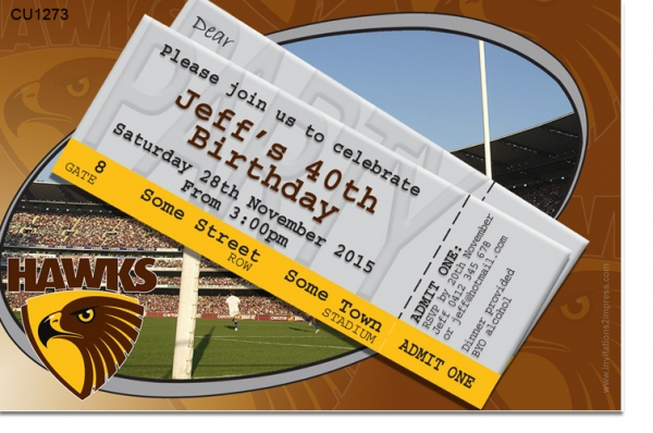 CU1273 - Hawthorn Hawks Birthday Invitation
