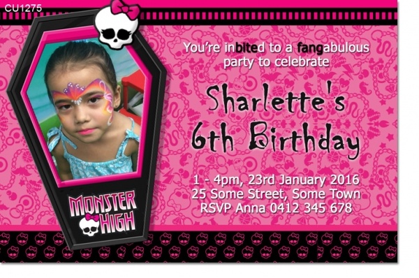 CU1275 - Monster High Girls Birthday Invitation