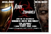 CU1280 - Heros Vs Zombies Birthday Invitation