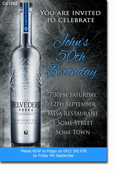CU1282 - Belvedere Vodka Birthday Invitation