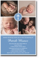 CU1294 - 4 Photo Christening Invitation Boys