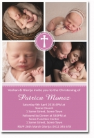 CU1295 - 4 Photo Christening Invitation Girls